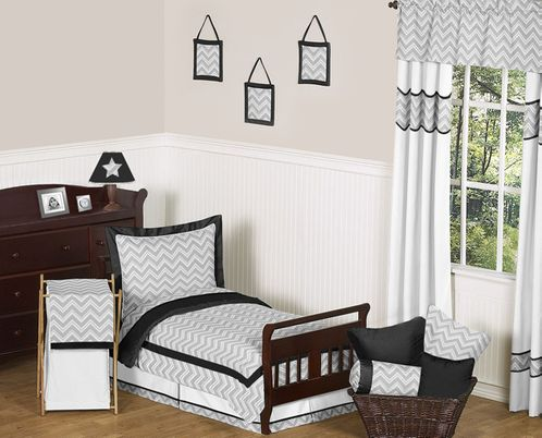 Black and Gray Chevron Zig Zag Toddler Bedding - 5pc Set by Sweet Jojo Designs - Click to enlarge