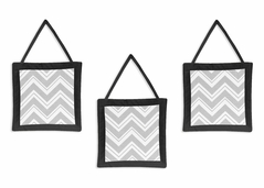 Black and Gray Chevron Zig Zag Wall Hanging Accessories by Sweet Jojo Designs
