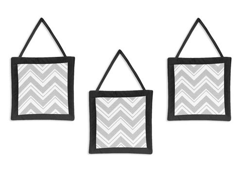 Black and Gray Chevron Zig Zag Wall Hanging Accessories by Sweet Jojo Designs - Click to enlarge