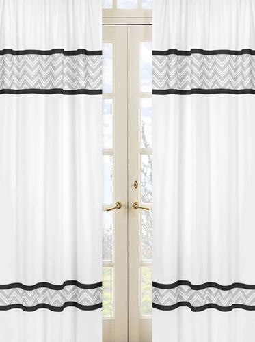 Black and Gray Chevron Zig Zag Window Treatment Panels by Sweet Jojo Designs - Set of 2 - Click to enlarge