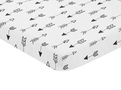 Black and White Arrow Baby Fitted Mini Portable Crib Sheet for Fox Collection by Sweet Jojo Designs - Click to enlarge