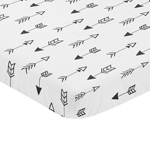 Black and White Arrow Baby Fitted Mini Portable Crib Sheet for Fox Collection by Sweet Jojo Designs