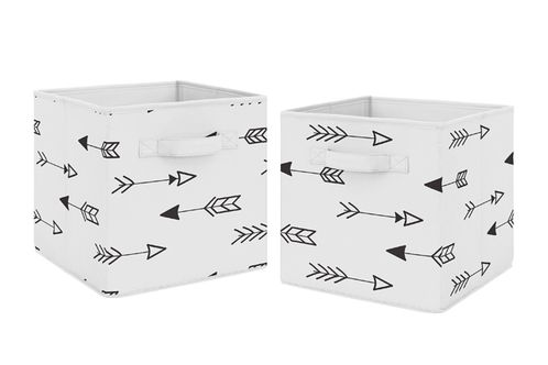 Black and White Arrow Foldable Fabric Storage Cube Bins Boxes Organizer Toys Kids Baby Childrens for Fox and Arrow Collection by Sweet Jojo Designs - Set of 2 - Click to enlarge