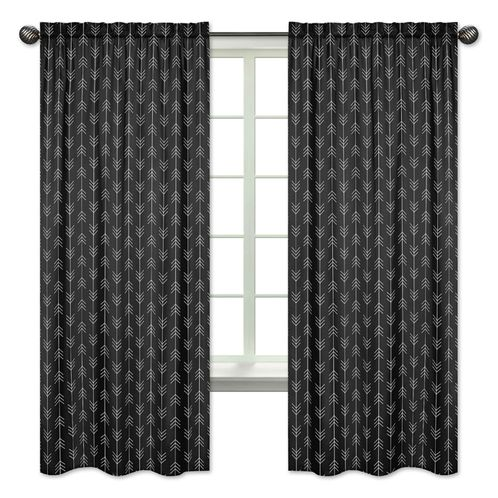 Black and White Arrow Window Treatment Panels Curtains by Sweet Jojo Designs - Set of 2 - Woodland Rustic Country Farmhouse Lumberjack - Click to enlarge