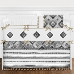 Black and White Boho Baby Girl Boy Nursery Crib Bedding Set with Bumper by Sweet Jojo Designs - 9 pieces - Gender Neutral Beige Modern Bohemian Aztec Tribal