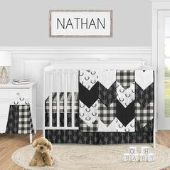 Black and White Buffalo Plaid Baby Boy Nursery Crib Bedding Set by Sweet Jojo Designs - 4 pieces - Woodland Rustic Country Farmhouse Check Deer Lumberjack Arrow