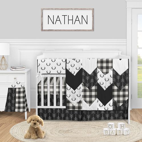 Black and White Buffalo Plaid Baby Boy Nursery Crib Bedding Set by Sweet Jojo Designs - 5 pieces - Woodland Rustic Country Farmhouse Check Deer Lumberjack Arrow - Click to enlarge