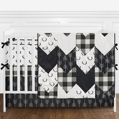 Black and White Buffalo Plaid Baby Boy Nursery Crib Bedding Set with Bumper by Sweet Jojo Designs - 9 pieces - Woodland Rustic Deer Lumberjack Arrow