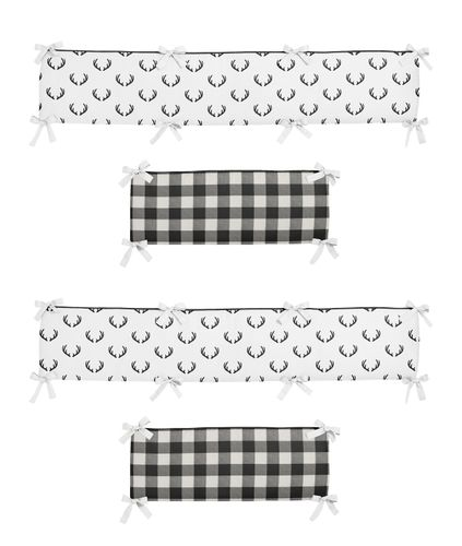 Black and White Buffalo Plaid Boy Baby Nursery Crib Bumper Pad by Sweet Jojo Designs - Woodland Rustic Country Farmhouse Check Deer Lumberjack - Click to enlarge