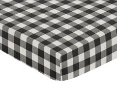 Black and White Buffalo Plaid Boy Fitted Crib Sheet Baby or Toddler Bed Nursery by Sweet Jojo Designs - Woodland Rustic Country Farmhouse Check Deer Lumberjack
