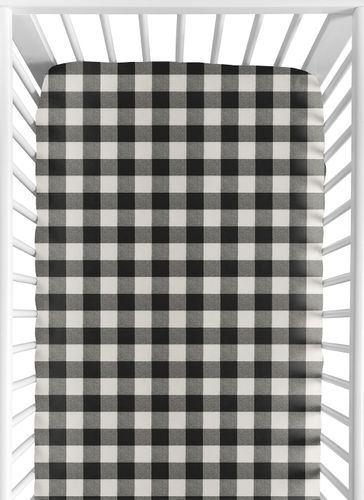 Black and White Buffalo Plaid Boy Fitted Crib Sheet Baby or Toddler Bed Nursery by Sweet Jojo Designs - Woodland Rustic Country Farmhouse Check Deer Lumberjack - Click to enlarge