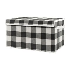 Black and White Buffalo Plaid Check Boy or Girl Small Fabric Toy Bin Storage Box Chest For Baby Nursery or Kids Room by Sweet Jojo Designs - Woodland Farmhouse Flannel Country Lumberjack