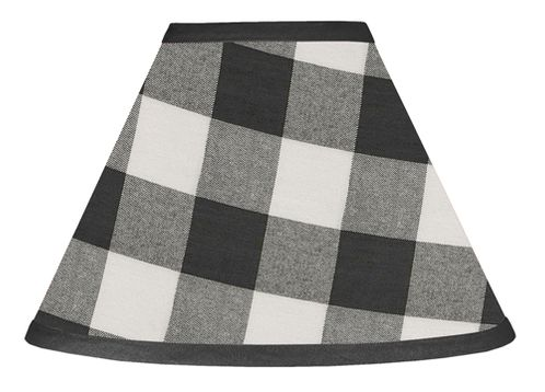 Black and White Buffalo Plaid Lamp Shade by Sweet Jojo Designs - Woodland Rustic Country Farmhouse Check Deer Lumberjack - Click to enlarge