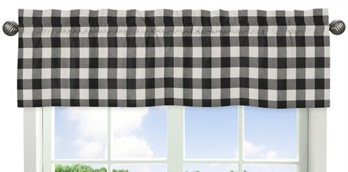 Black and White Buffalo Plaid Window Treatment Valance by Sweet Jojo Designs - Woodland Rustic Country Farmhouse Check Deer Lumberjack - Click to enlarge