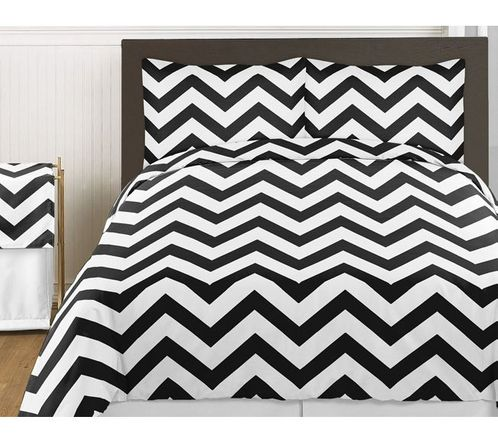 Black and White Chevron 4pc Childrens and Kids Zig Zag Twin Bedding Set Collection - Click to enlarge