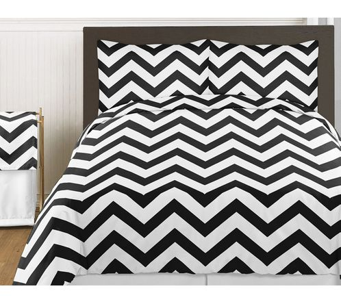 Black and White Chevron 3pc Bed in a Bag Zig Zag King Bedding Set Collection - Click to enlarge