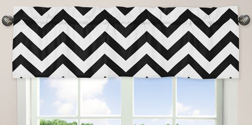 Black and White Chevron Collection Zig Zag Window Valance - Click to enlarge