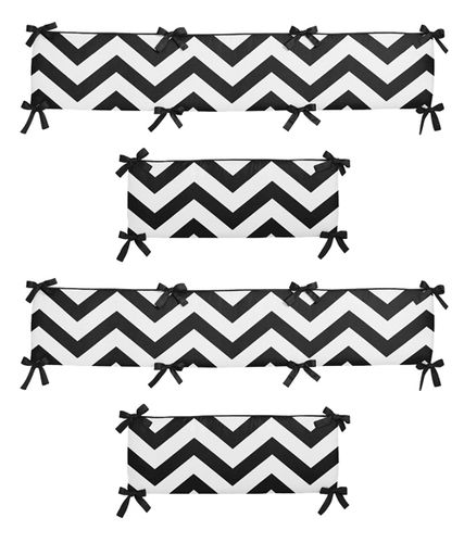 Black and White Chevron Collection Crib Bumper by Sweet Jojo Designs - Click to enlarge