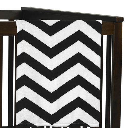 Black and White Chevron Plush Fleece Baby Crib Blanket by Sweet Jojo Designs - Click to enlarge