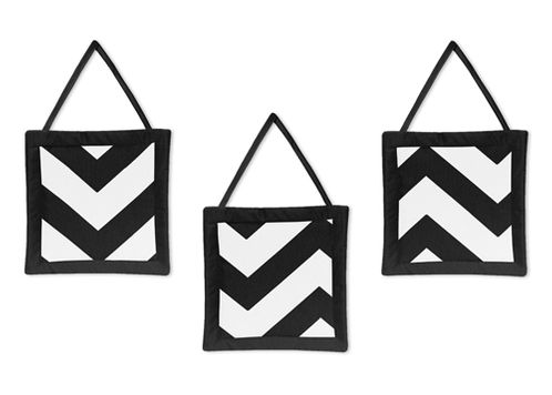 Black and White Chevron Wall Hanging Accessories by Sweet Jojo Designs - Click to enlarge
