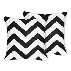 Black and White Chevron Zig Zag Decorative Accent Throw Pillows - Set of 2
