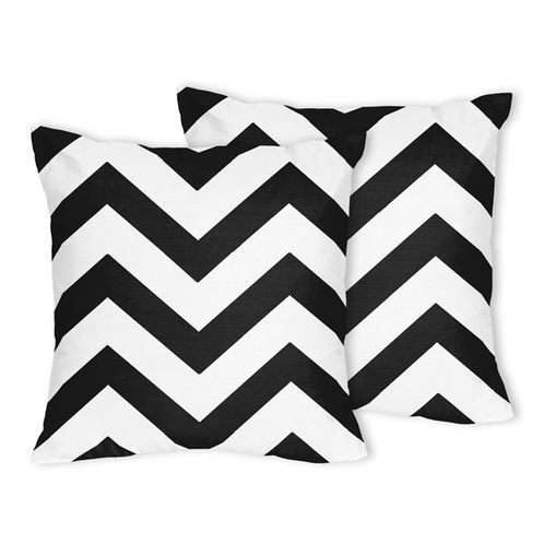 Black and White Chevron Zig Zag Decorative Accent Throw Pillows - Set of 2 - Click to enlarge