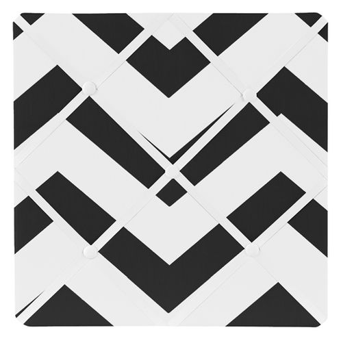 Black and White Chevron Zig Zag Fabric Memory/Memo Photo Bulletin Board - Click to enlarge