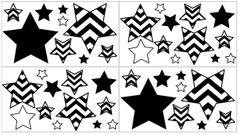 Black and White Chevron Zig Zag Peel and Stick Wall Decal Stickers Art Nursery Decor by Sweet Jojo Designs - Set of 4 Sheets