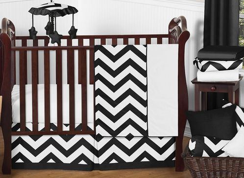 Black and White Chevron ZigZag Baby Bedding - 11pc Crib Set by Sweet Jojo Designs - Click to enlarge