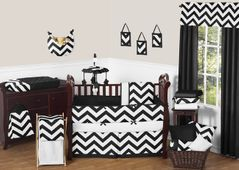 Black and White Chevron ZigZag Baby Bedding - 9pc Crib Set by Sweet Jojo Designs