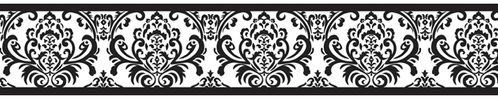 Black and White Damask Sloane Childrens and Kids Modern Wall Paper Border - Click to enlarge