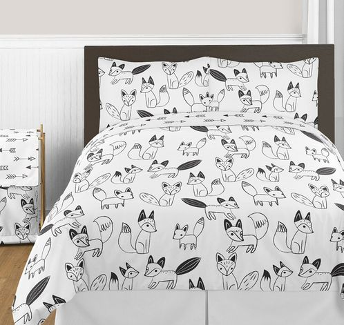 Black and White Fox and Arrow 3pc Boy or Girl Full / Queen Bedding Set by Sweet Jojo Designs - Click to enlarge
