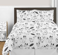 Black and White Fox and Arrow 3pc Boy or Girl Full / Queen Bedding Set by Sweet Jojo Designs