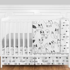 Black and White Fox and Arrow Baby Bedding - 11pc Boys Crib Set by Sweet Jojo Designs