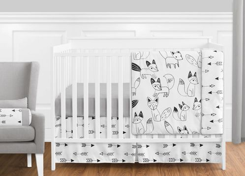 Black and White Fox and Arrow Baby Bedding - 11pc Boys Crib Set by Sweet Jojo Designs - Click to enlarge
