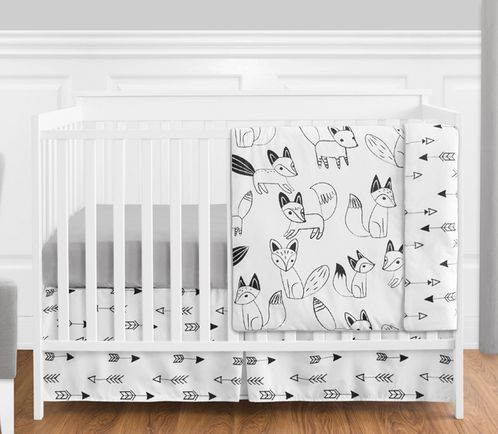 Black and White Fox and Arrow Baby Bedding - 4pc Boys Crib Set by Sweet Jojo Designs - Click to enlarge