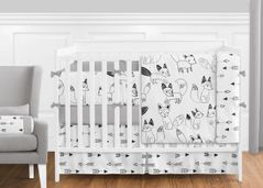 Black and White Fox and Arrow Baby Bedding - 9pc Crib Set by Sweet Jojo Designs