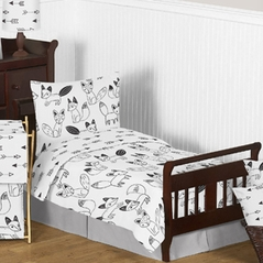 Black and White Fox and Arrow Boy or Girl Toddler Bedding - 5pc Set by Sweet Jojo Designs
