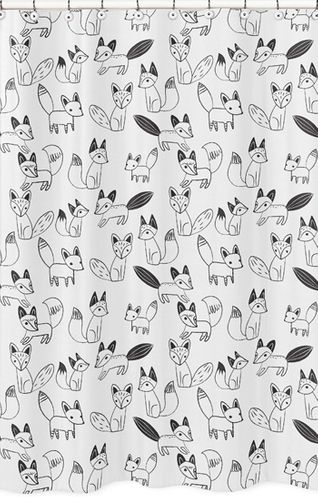 Black and White Fox Childrens Bathroom Fabric Bath Shower Curtain by Sweet Jojo Designs - Click to enlarge