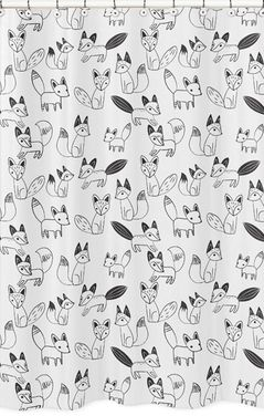 Black and White Fox Childrens Bathroom Fabric Bath Shower Curtain by Sweet Jojo Designs
