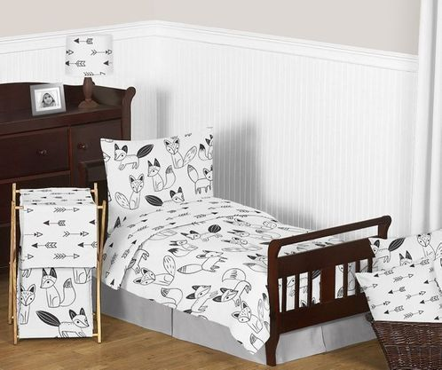 Black and White Fox and Arrow Boy or Girl Toddler Bedding - 5pc Set by Sweet Jojo Designs - Click to enlarge