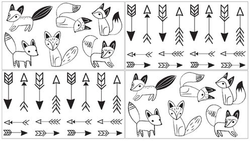 Black and White Fox Collection Peel and Stick Wall Decal Stickers Art Nursery Decor by Sweet Jojo Designs - Set of 4 Sheets - Click to enlarge