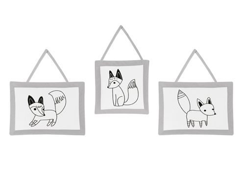 Black and White Fox Collection Wall Hanging Accessories by Sweet Jojo Designs - Click to enlarge