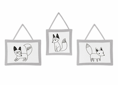 Black and White Fox Collection Wall Hanging Accessories by Sweet Jojo Designs