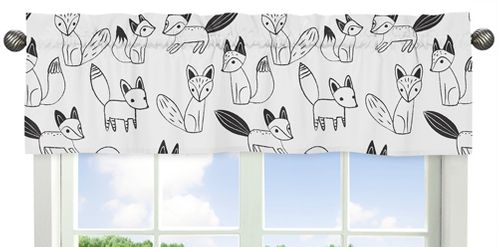 Black and White Fox Collection Window Valance by Sweet Jojo Designs - Click to enlarge