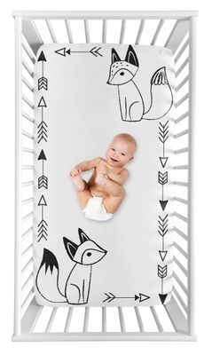 Black and White Fox Boy or Girl Fitted Crib Sheet Baby or Toddler Bed Nursery Photo Op by Sweet Jojo Designs - Gender Neutral Unisex