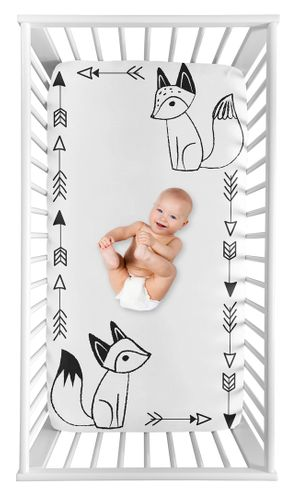 Black and White Fox Boy or Girl Fitted Crib Sheet Baby or Toddler Bed Nursery Photo Op by Sweet Jojo Designs - Gender Neutral Unisex - Click to enlarge