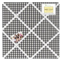 Black and White Gingham Fabric Memory/Memo Photo Bulletin Board for Ladybug Collection by Sweet Jojo Designs