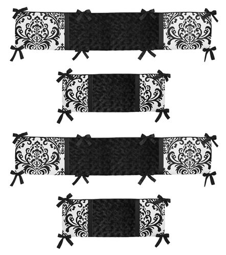 Black and White Isabella Collection Crib Bumper by Sweet Jojo Designs - Click to enlarge
