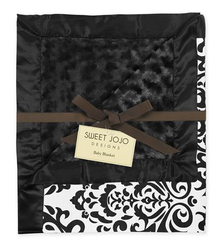 Black and White Isabella Damask, Minky Swirl and Satin Baby Blanket by Sweet Jojo Designs - Click to enlarge